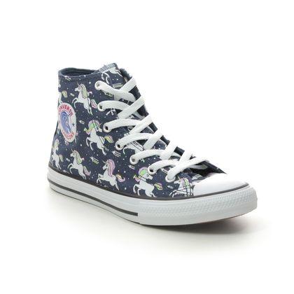 Converse Girls Trainers - Navy - 666201C/003 UNICORN HI