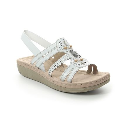 Earth Spirit Comfortable Sandals - White Leather - 30554/66 PORTLAND