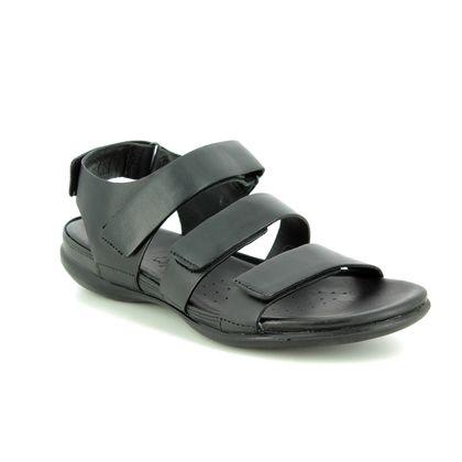 ECCO Comfortable Sandals - Black leather - 243943/02001 FLASH STRAP