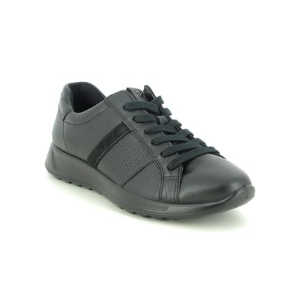 ECCO Comfort Lacing Shoes - Black leather - 292423/51052 FLEXURE PERF