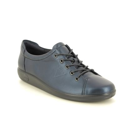 ECCO Comfort Lacing Shoes - Navy leather - 206503/11303 SOFT 2.0