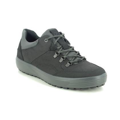 ECCO Walking Shoes - Black leather - 450354/51052 SOFT 7 MENS LO GTX