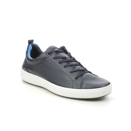 ECCO Trainers - Navy leather - 470404/58373 SOFT 7 MENS