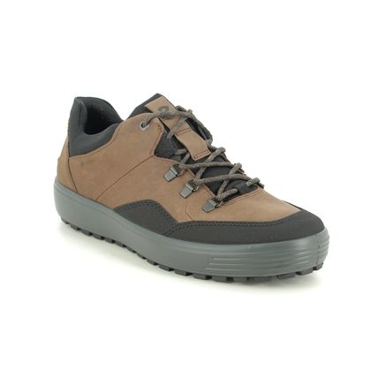 ECCO Walking Shoes - Brown leather - 450354/55275 SOFT 7 MENS LO GTX