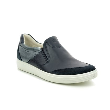 ECCO Trainers - Navy Leather - 430763/51142 SOFT 7 SLIP ON