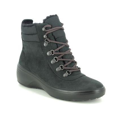 ECCO Walking Boots - Black nubuck - 420803/51052 SOFT 7 WEDGE WATERPROOF