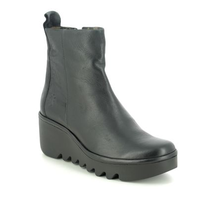 Fly London Wedge Boots - Black leather - P501250 BALE