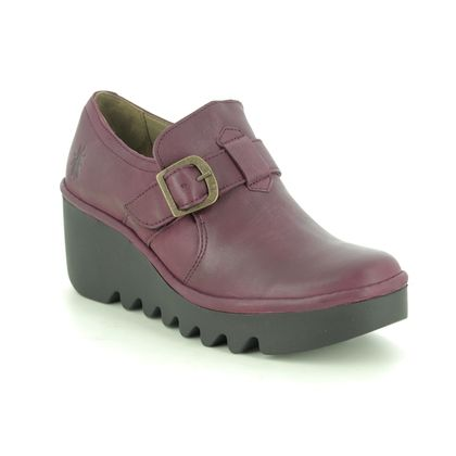 Fly London Wedge Shoes  - Wine leather - P501242 BELK