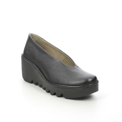 Fly London Wedge Shoes  - Black leather - P501246 BESO   BLU