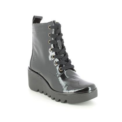 Fly London Wedge Boots - Black patent - P501329 BIAZ   BLU