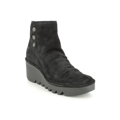 Fly London Wedge Boots - Black Suede - P501344 BROM   BLU