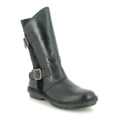 Fly London Mid Calf Boots - Black leather - P211004 FOLD