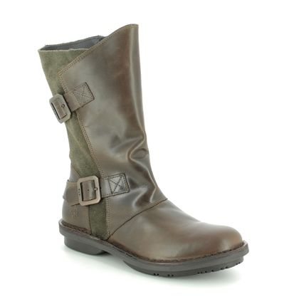 Fly London Ankle Boots - Olive leather - P211004 FOLD