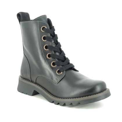 Fly London Lace Up Boots - Black leather - P144539 RAGI