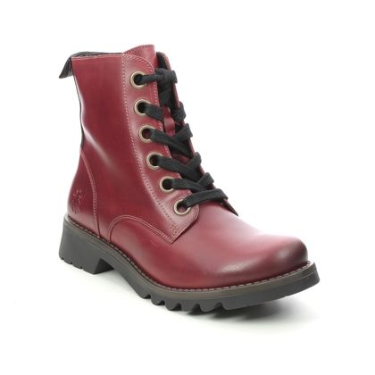 Fly London Lace Up Boots - Red leather - P144539 RAGI