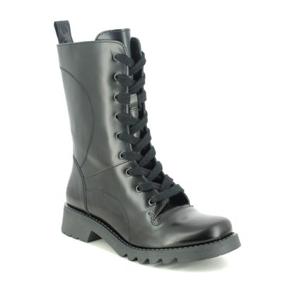 Fly London Mid Calf Boots - Black leather - P144640 REBA