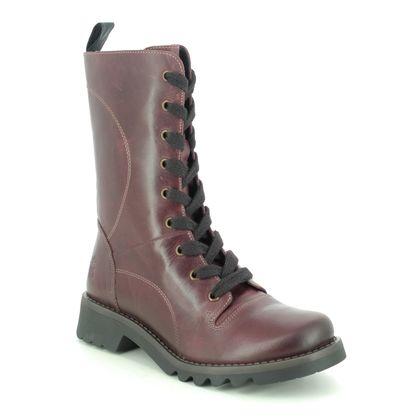 Fly London Mid Calf Boots - Purple Leather - P144640 REBA