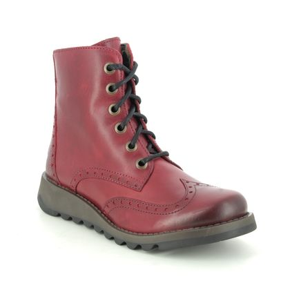 Fly London Lace Up Boots - Red leather - P144069 SARL