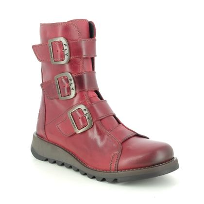 Fly London Boots - Ankle - Red leather - P144110 SCOP