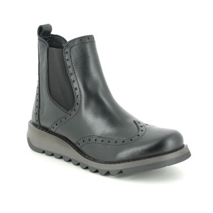 Fly London Chelsea Boots - Black leather - P144523 SONO