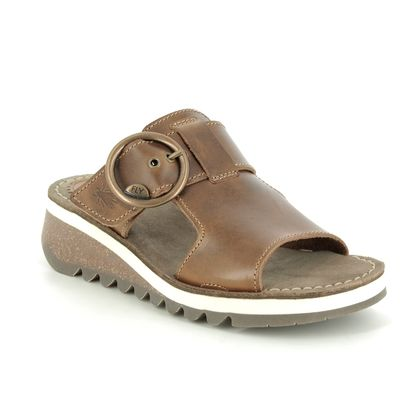 Fly London Wedge Sandals - Camel - P144590 TUTE 2