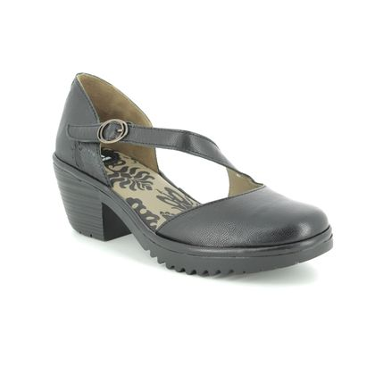 Fly London Wedge Sandals - Black leather - P501144 WAKO
