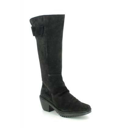 Fly London Knee High Boots - Black Suede - P501085 WAKI