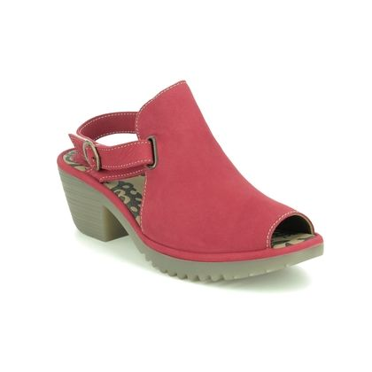 Fly London Wedge Sandals - Red nubuck - P501137 WENA
