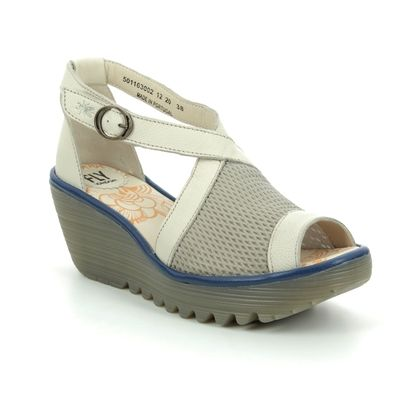 Fly London Wedge Sandals - Beige leather - P501163 YACE