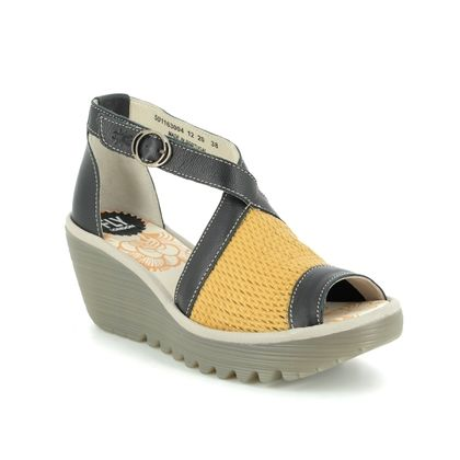 Fly London Wedge Sandals - Black yellow - P501163 YACE