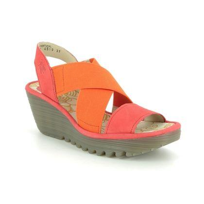 Fly London Wedge Sandals - Orange - P500888 YAJI