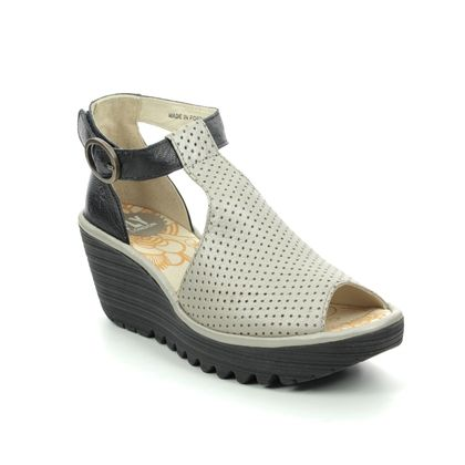 Fly London Wedge Sandals - Black-Silver - P500962 YALL