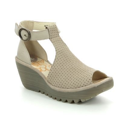 Fly London Wedge Sandals - Taupe leather - P500962 YALL