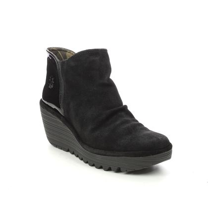 Fly London Wedge Boots - Black Suede - P501266 YAMY   YELLOW