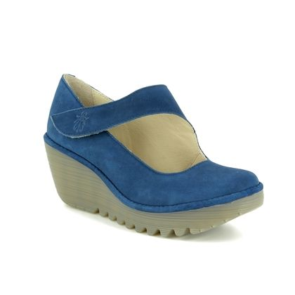 Fly London Wedge Shoes  - BLUE LEATHER - P500682 YASI