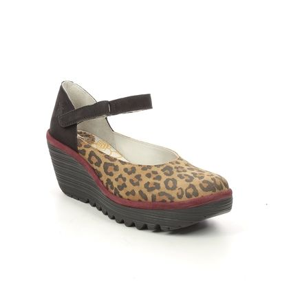 Fly London Wedge Shoes  - Leopard print - P501345 YAWO   YELLOW