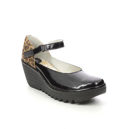 Fly London Wedge Shoes  - Black patent - P501345 YAWO   YELLOW