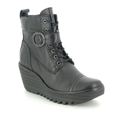 Fly London Wedge Boots - Black leather - P501247 YEZI
