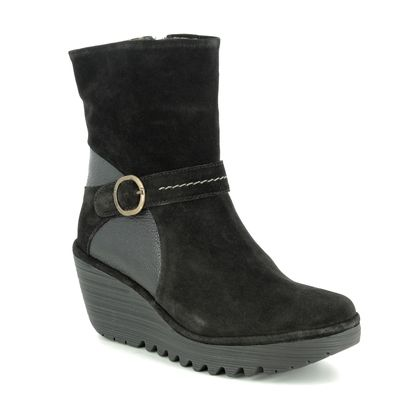 Fly London Wedge Boots - Black Suede - P501083 YOME