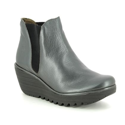 Fly London Wedge Boots - Metallic Leather - P500431 YOSS