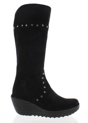 Fly London Knee High Boots - Black Suede - P500903 YOTA
