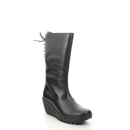 Fly London Mid Calf Boots - Black leather - P501321 YUMU   YELLOW