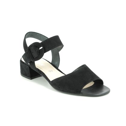 Gabor Heeled Sandals - Black nubuck - 41.702.17 ADAPT