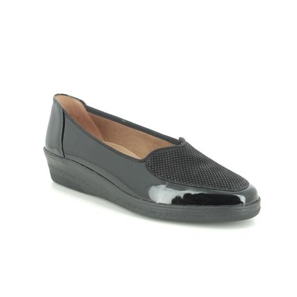 Gabor Comfort Slip On Shoes - Black patent - 56.404.37 BLANCHE