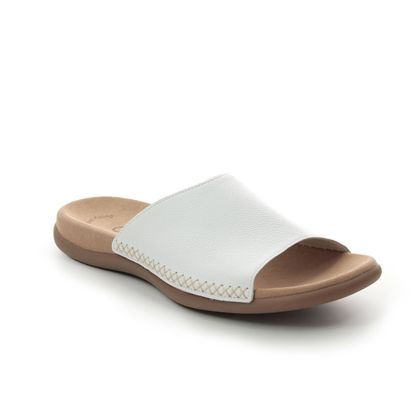 Gabor Slide Sandals - WHITE LEATHER - 03.705.21 EAGLE
