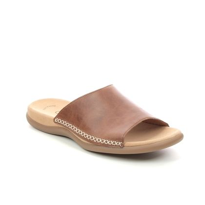 Gabor Slide Sandals - Tan Leather  - 63.705.24 EAGLE