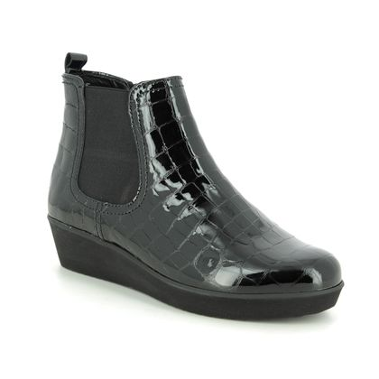 Gabor Wedge Boots - Black croc - 36.050.97 GHOST