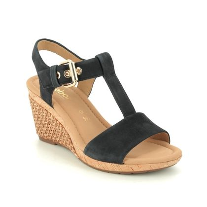 Gabor Wedge Sandals - Navy Suede - 22.824.26 KAREN