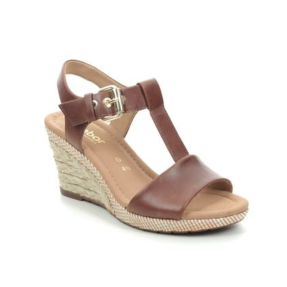 Gabor Wedge Sandals - Tan Leather  - 42.824.54 KAREN