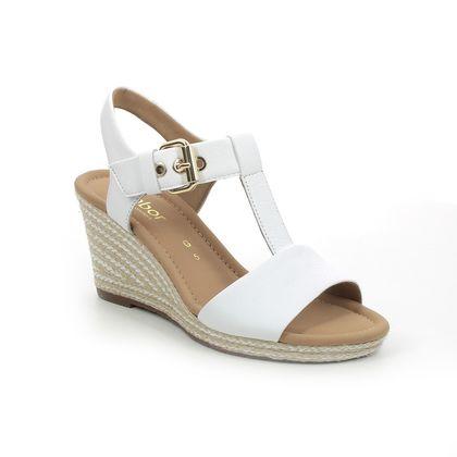 Gabor Wedge Sandals - White Leather - 62.824.60 KAREN